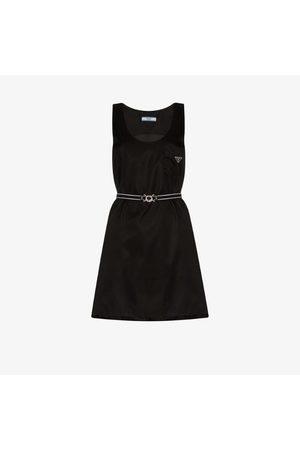 Prada Scoop neck belted mini dress