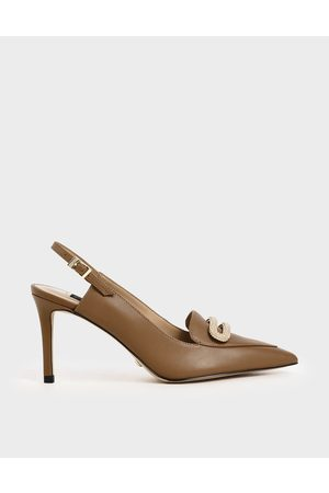 CHARLES & KEITH Leather Metallic Accent Court Shoes