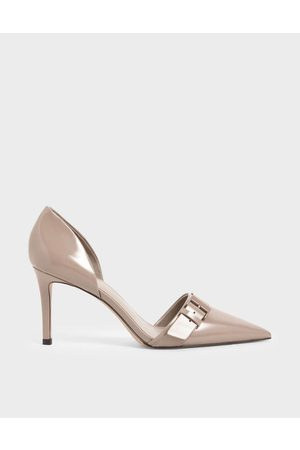 CHARLES & KEITH Women Heels - Patent Buckled D'Orsay Court Shoes