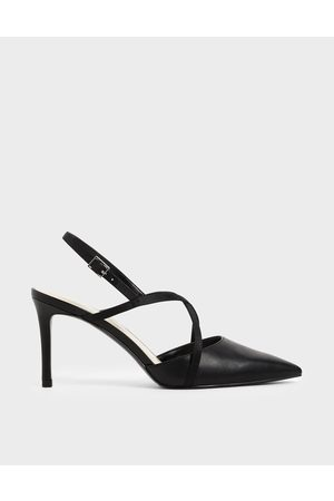CHARLES & KEITH Satin Criss-Cross Strap Court Shoes