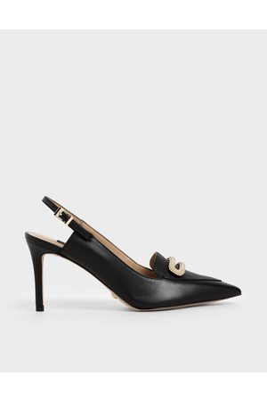 CHARLES & KEITH Women Heels - Leather Metallic Accent Court Shoes