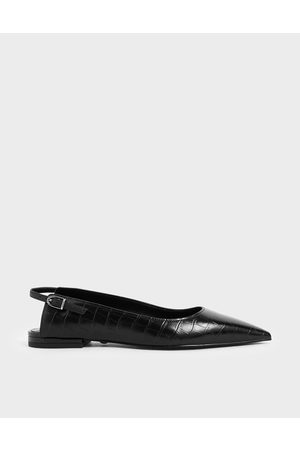 CHARLES & KEITH Croc-Effect Leather Ballet Pumps