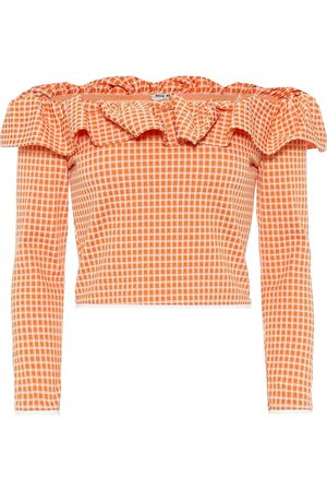 Miu Miu Gingham off-the-shoulder top