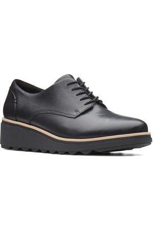 Clarks Sharon Noel Leather Wedge Brogues - Black