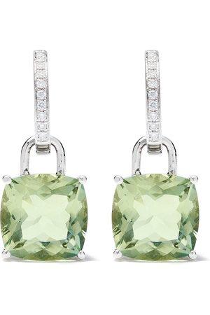 Kiki Mcdonough Women Earrings - 18kt Kiki Classics cushion cut green amethyst and detachable diamond hoop earrings