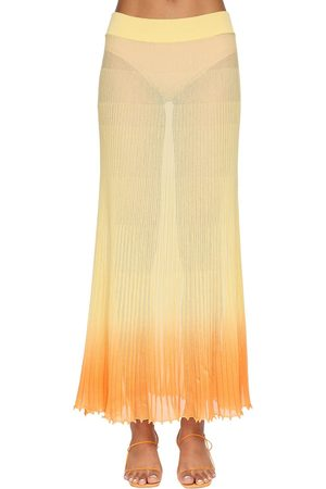 Jacquemus Women Midi Skirts - Gradient Plisse Sheer Knit Midi Skirt
