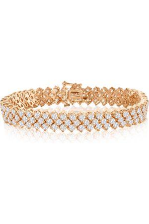 Hansa 14K Rose (27 g) 12 Carat Three Row Diamond Tennis Bracelet, H/I, 7 Inch by