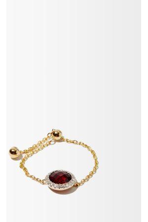 Anissa Kermiche January Diamond, Garnet & 14kt Gold Chain Ring - Womens