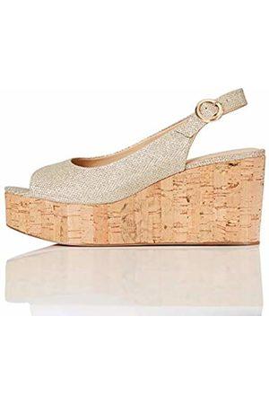 FIND FIND Cork Peep Toe Sling Back Wedge Open Heels, (Sparke )