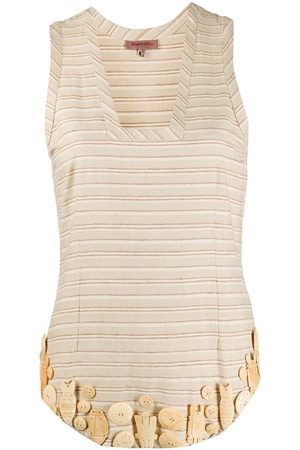 ROMEO GIGLI Embellished striped blouse - Neutrals