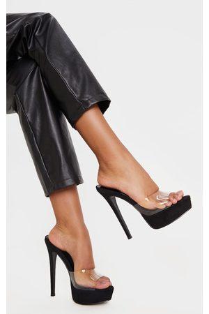 PRETTYLITTLETHING Women Platform Sandals - High Platform Clear Mule Sandals