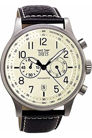 Davis 1022 - Mens Aviation Watch Chronograph Waterresist 50M Dial Date Leather Strap