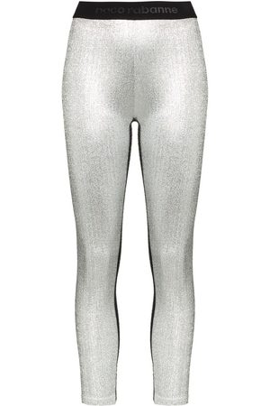 Paco Rabanne Metallic logo waistband leggings