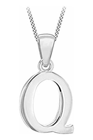 Tuscany Silver Women's Sterling Initial Q Pendant on Curb Chain of Length 46 cm/18 Inch