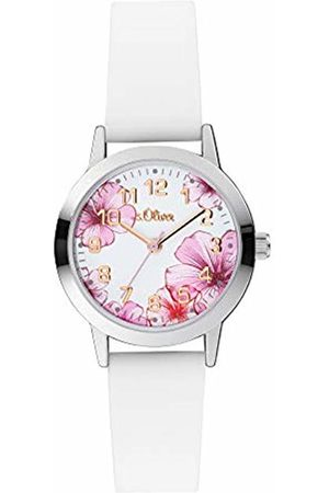 s.Oliver Girl's Analogue Quartz Watch with Silicone Strap SO-4076-PQ