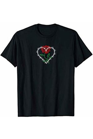 Edgy Aesthetic Clothing & Soft Grunge Clothes Barbed Wire Heart Rose Flower Aesthetic Grunge Punk Goth T-Shirt