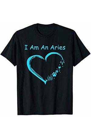 I am an Aries blue heart graphic t -shir t I am an Aries love wine dog flip-flop blue heart graphic T-Shirt