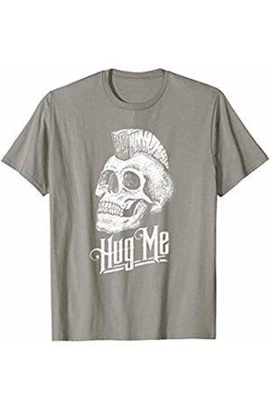 The Robot Ranger - Fun Apparel & Gifts Hug Me! Mohawk Skull Funny Punk Sketch Graphic T-Shirt