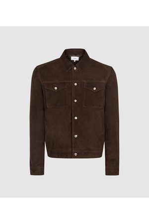 Reiss Jagger - Suede Trucker Jacket in , Mens