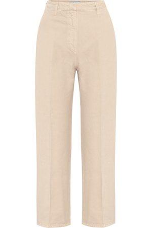 Prada High-rise denim straight pants