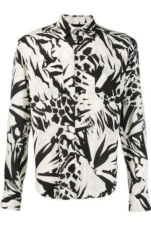 Saint Laurent Jungle Flower long-sleeved shirt - NEUTRALS