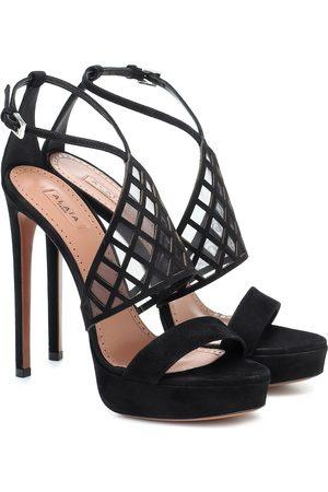 Alaïa Mesh-trimmed suede platform sandals