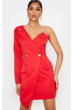 PRETTYLITTLETHING Women Asymmetrical Dresses - Asymmetric One Shoulder Blazer Dress
