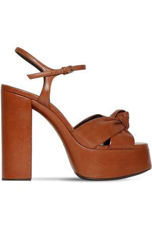 Saint Laurent 125mm Bianca Leather Platform Sandals