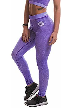 Gold's Gym Golds Gym GGLPNT048 Womens Workout Premium Training Pattern Printed High Waist Fitness Compression Gym Yoga Leggings, (Lilac)
