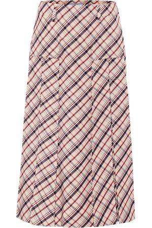 Prada Checked virgin wool midi skirt