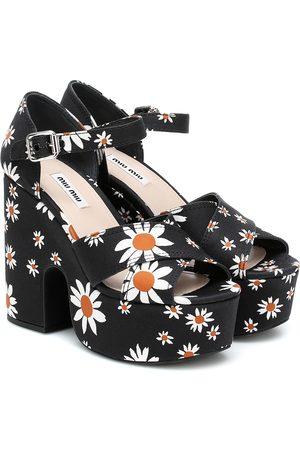 Miu Miu Daisy gabardine platform sandals