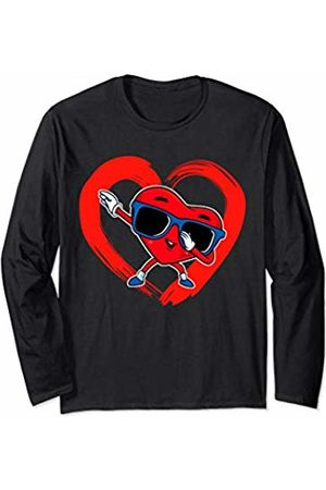 Lil Cupids Valentines Day Gift Store Valentines Day Boys Valentine Boy Dab Love Dabbing Heart Long Sleeve T-Shirt