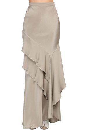 Max Mara Ruffled Silk Crepe De Chine Long Skirt