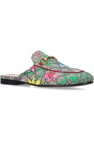 Gucci Leather Flora Princetown Slippers