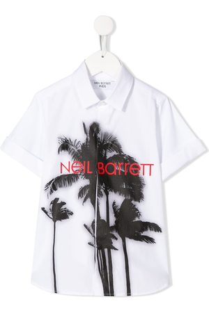 Neil Barrett Short sleeve palm tree print T-shirt