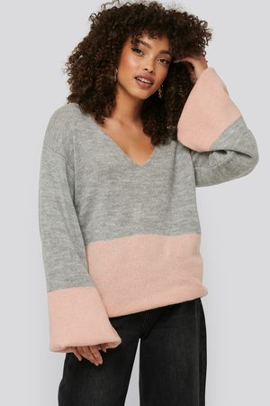 NA-KD Two Coloured Puff Sleeve Sweater - Multicolor