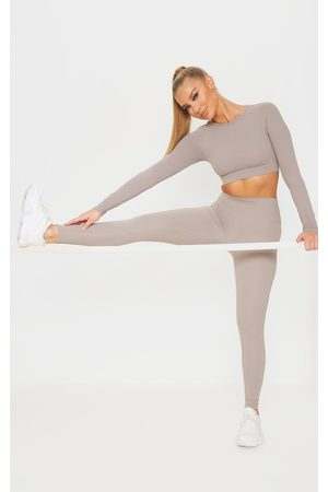 PRETTYLITTLETHING Taupe Sculpt Luxe High Waist Gym Legging