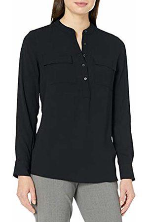 Lark & Ro Long Sleeve Sheer Utility Woven Tunic Top With Band Collar Shirt