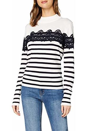 warehouse Women's Stripe Lace High Neck Jumper Sweater