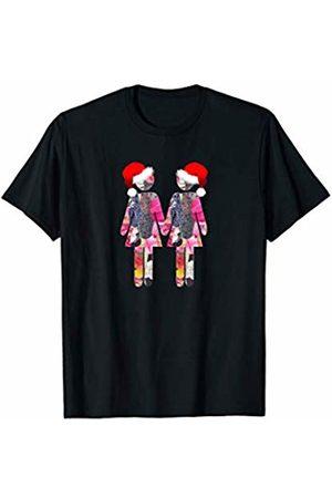 HAPPY LESBIAN CHRISTMAS Sweet gift Gay Christmas Lesbians wearing Santa Hats T-Shirt