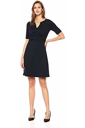 Lark & Ro Half Sleeve Front Twist Fit & Flare Dress Navy