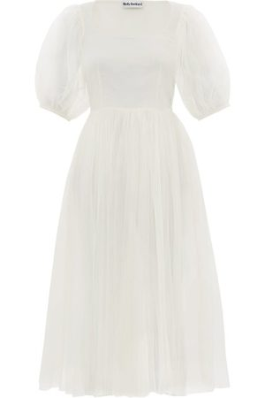 Molly Goddard Tilly Puffed-sleeve Tulle Midi Dress - Womens