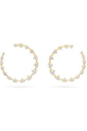 Jade Trau Women Earrings - Crescent Diamond & 18kt Hoops - Womens