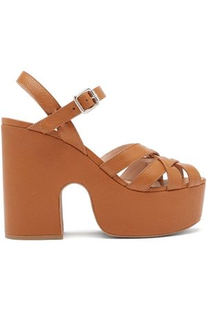 Miu Miu Women Platform Sandals - Crossover-strap Leather Platform Sandals - Womens - Tan