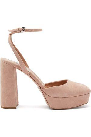 Prada Women Sandals - Square-toe Suede Platform Sandals - Womens - Nude