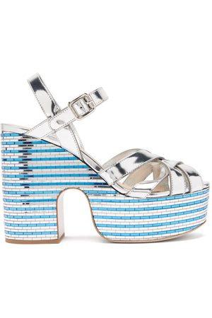 Miu Miu Crystal-embellished Leather Platform Sandals - Womens