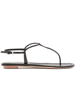 Prada Toe-post Patent-leather Sandals - Womens