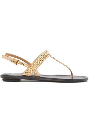 Prada Crystal-embellished Satin Slingback Sandals - Womens