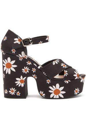 Miu Miu Women Sandals - Daisy-print Micro-faille Platform Sandals - Womens