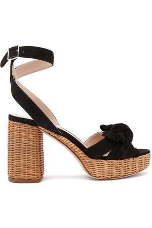 Miu Miu Bow-front Suede And Wicker Platform Sandals - Womens